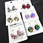 Gold French Pcd Earring w/ Shiney Stone  6 colors .54 per pair