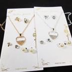 Gold & Silver Chain Heart Neck Set w/ 3 Pair Earrings .58 per set