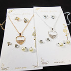 Gold & Silver Chain Heart Neck Set w/ 3 Pair Earrings .58 per set