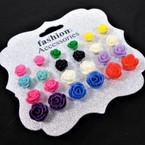 12 Pair Colorful Flower Design Earrings   .54 per set