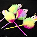 "8"" Novelty Faux Fur Unicorn Theme Fashion Ball Point Pens   .60 each"