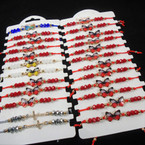 Cord Beaded Bracelet w/  Butterfly  Asst Colors & All Red 24 per cd .54 ea