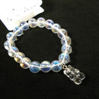 Shiney Transparent Glass Bead Bracelet w/ Clear Bear Charm  .54 ea