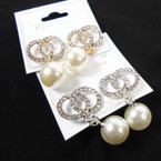 Pearl Drop Fashion Earring w/ DBL Cry. Stone Circle .56 per pair