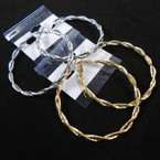 "2.25"" Gold & Silver Hypo Allergenic Fancy Hoop Earrings .56 per pair"