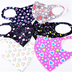 Heart Theme  Print Face Masks Washable & Reusable 12 per pk  .65 each