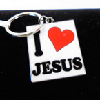 "Great Quality 2"" I Love Jesus Cast Keychains White Background  12 per pk .56 each"