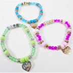 Mixed Color Love Heart Charm Bracelet w/ Cry. Beads  .54 each