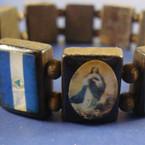Wood Stretch Bracelet Saints w/ Nicaragua Flag