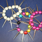 Glass Pearl Stretch Bracelet w/ Silver Spikes ON SALE  .25 ea