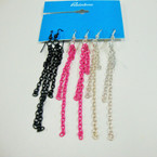 3 Pair Lg. Chain Earrings 3 Colors  sold by 12 - 3 pks  ON SALE