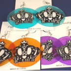 "2"" Rd. Thin Shell Earring w/ Crown Design .25 ea"