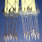 "6"" Silver Fashion Earring w/ Dangle Chains & Spikes .25 ea"
