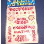 God's Girl Sticker Sheets 12 sticker sheets per pk .50 each pk
