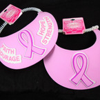 Pink Ribbon Foam Sun Visor on Coil Cord 24 per pack ON SALE .65 ea