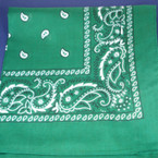 Bandana Green  DBL Side Printed 100% Cotton .60 EACH