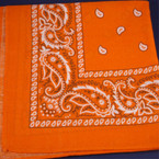 Bandana Orange DBL Sided Printed 100% Cotton .52 ea