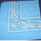 Bandana Sky Blue  DBL Side Printed 100% Cotton .52 ea