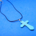 Black Cord Necklace w/ Real Turquoise Stone Cross Pendant .54 ea
