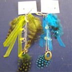 "5"" Multi Feather Fashion Earring w/ Silver Stud Earring Set  .25"
