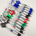 "4"" 4 Color Pen Retractable Keychain Silver  .58 ea"
