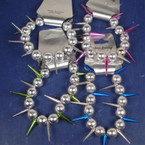 Silver Beaded Stretch Bracelet w/ Colorful Spikes  ON SALE .40 ea