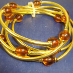 5 Pack Gold Stretch Bracclets w/ Amber Beads 12-5 pks per pk .40 per pk