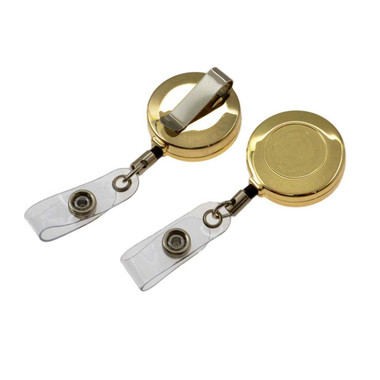 Blank Gold Retractable ID Badge Holder Reel