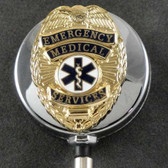 EMS Emergency Medical Services Retractable ID Holder Chrome