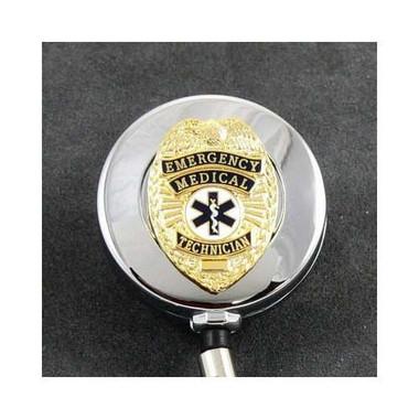 EMT Emergency Medical Technician Badge Retractable ID Reel Chrome