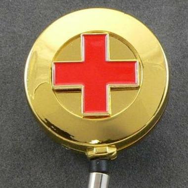 Red Cross Retractable Badge Reel ID Holder