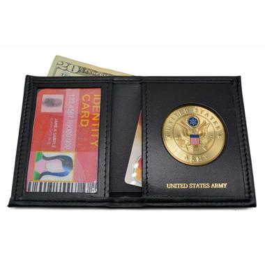 U. S. Army Medallion Mens Black Leather Bi Fold Billfold Wallet