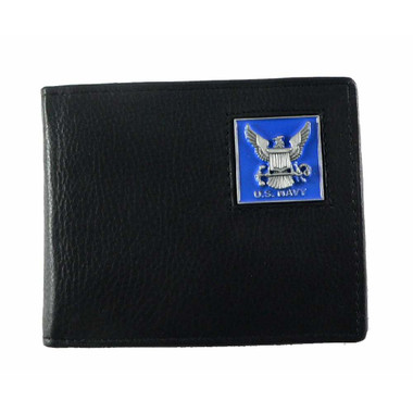 US Navy Bifold Leather Wallet with Emblem