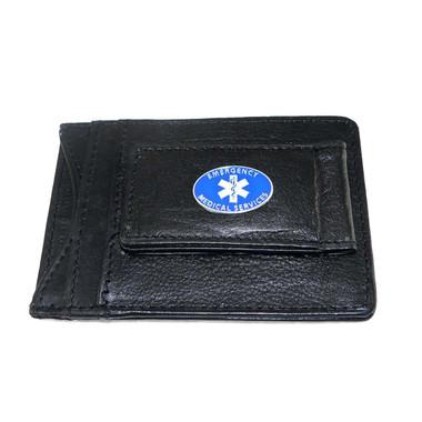 EMS Paramedic EMT Leather Slim Wallet Money Clip ID Cash & Cardholder