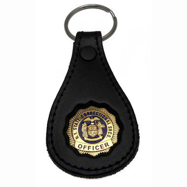 NY Department of Corrections Officer Mini Badge Leather Key Ring