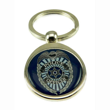Police Officer Law Enforcement Chrome Steel Key Ring