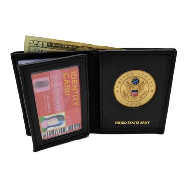 U S Army Medallion Bi-fold Men's Leather Wallet black