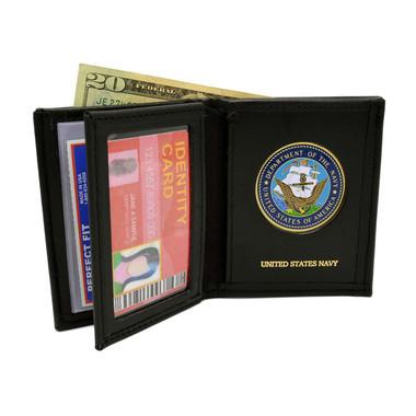 U S Navy Medallion Bi-fold Men's Leather Wallet