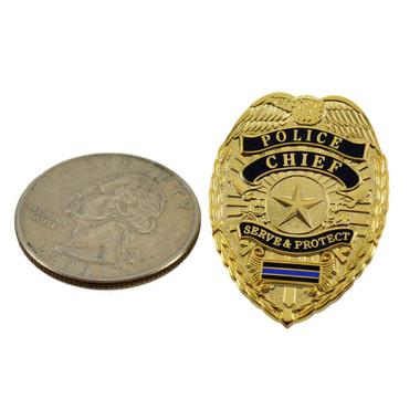 Police Chief Blue Line Mini Badge Lapel Pin Gold