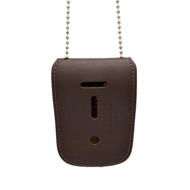 Universal Leather Badge & ID Holder with Neck Chain 2.5 X 3.25 Brown
