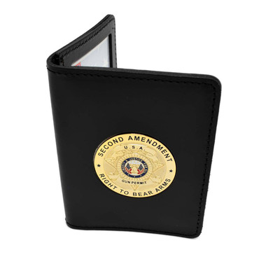 State Concealed Weapons Permit Leather Case with 2nd Amendment Medallion