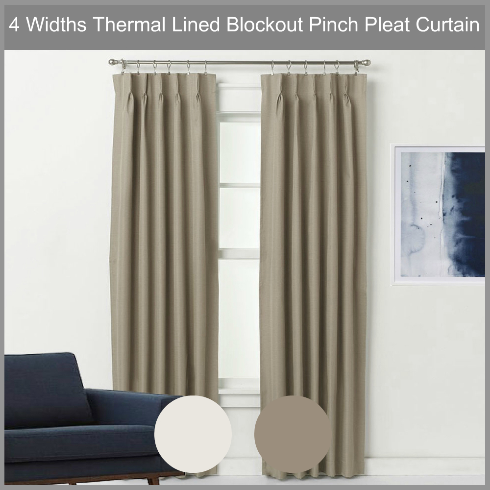 Pinch Pleated Thermal Insulated Drapes: Pinch Pleat Blockout Curtain Pair Thermal Lined Blackout