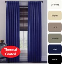 CANTINA Thermal Pinch Pleat Curtains Modern Leaf Jacquard 300cm x 213cm NAVY BLUE