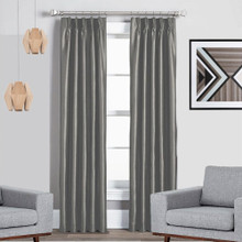 Texas Grey Pinch Pleat Blackout Curtains Quickfit | 4 Sizes