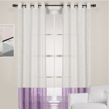 HOMESPUN Linen Look Sheer Eyelet Curtain Panel WHITE/PURPLE | New!