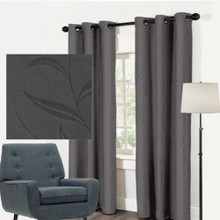 LEAF Blockout Eyelet Curtain Panels CHARCOAL