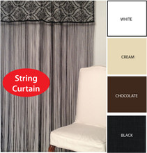 STRING Decorative Tab Top Curtain / Room Divider BLACK