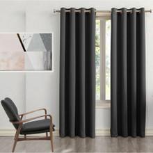 250 cm Drop Black Blockout Eyelet Curtain Panel