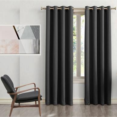 250 cm Drop Black Blockout Eyelet Curtain Panel | 2 Sizes!