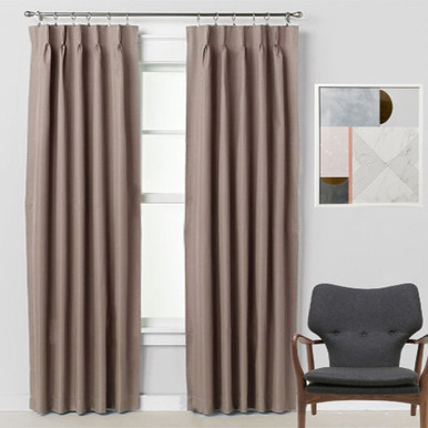 Bond 250cm Drop Pinch Pleat Room Darkening Soft Drape Curtains LATTE | 3 Sizes!